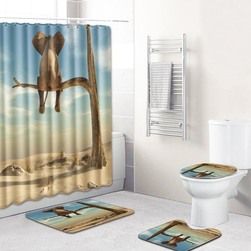INS Custom Elephant Shower Curtain Mat Set Four Piece Ensuite Toilet Toilet Carpet Shower Room Mat Mats Cross-Border on Behalf