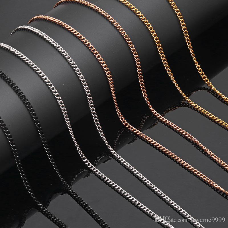 3 мм нержавеющая сталь мужчины золото черный сталь Роза звено цепи Ожерелье для мужчины женщины хип - хоп аксессуары ковбой ювелирные изделия 10 шт. / лот