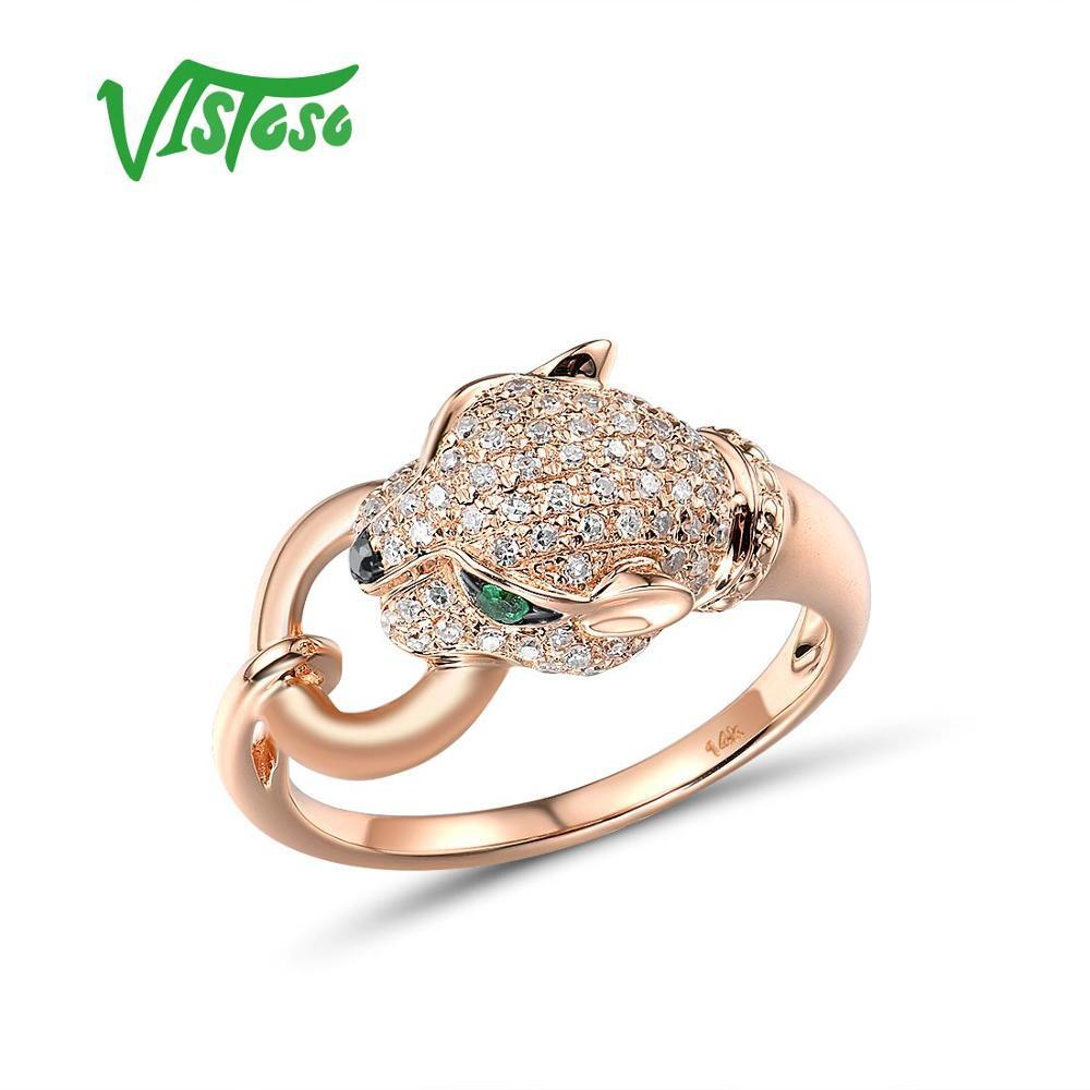 VISTOSO Gold Ring For Women Genuine 14K 585 Rose Gold Leopard Ring Emerald Sparkling Diamond Engagement Anniversary Fine Jewelry CX200611