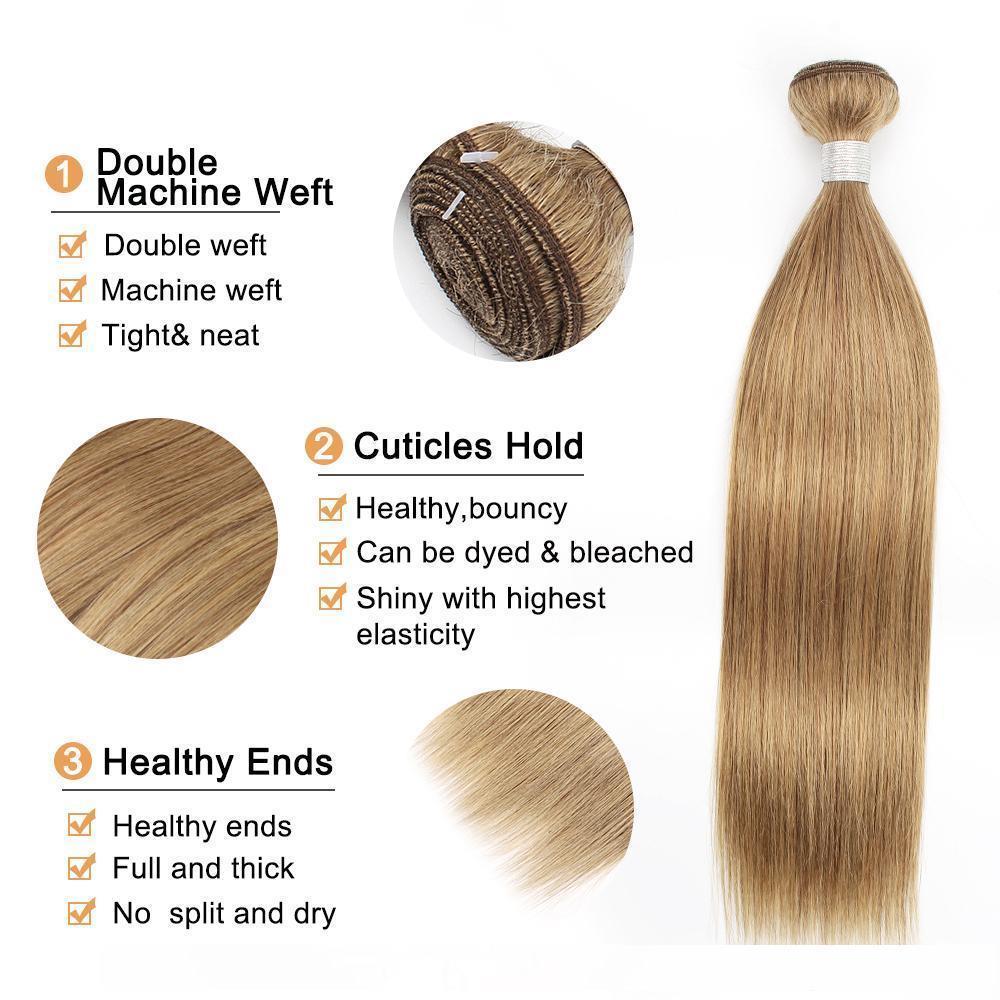 B Ash Blonde Straight Hair Weave Bundles #8 Brazilian Malaysian Indian Peruvian Remy Human Hair Extensions 3 Or 4 Bundles 16 -24 Inch