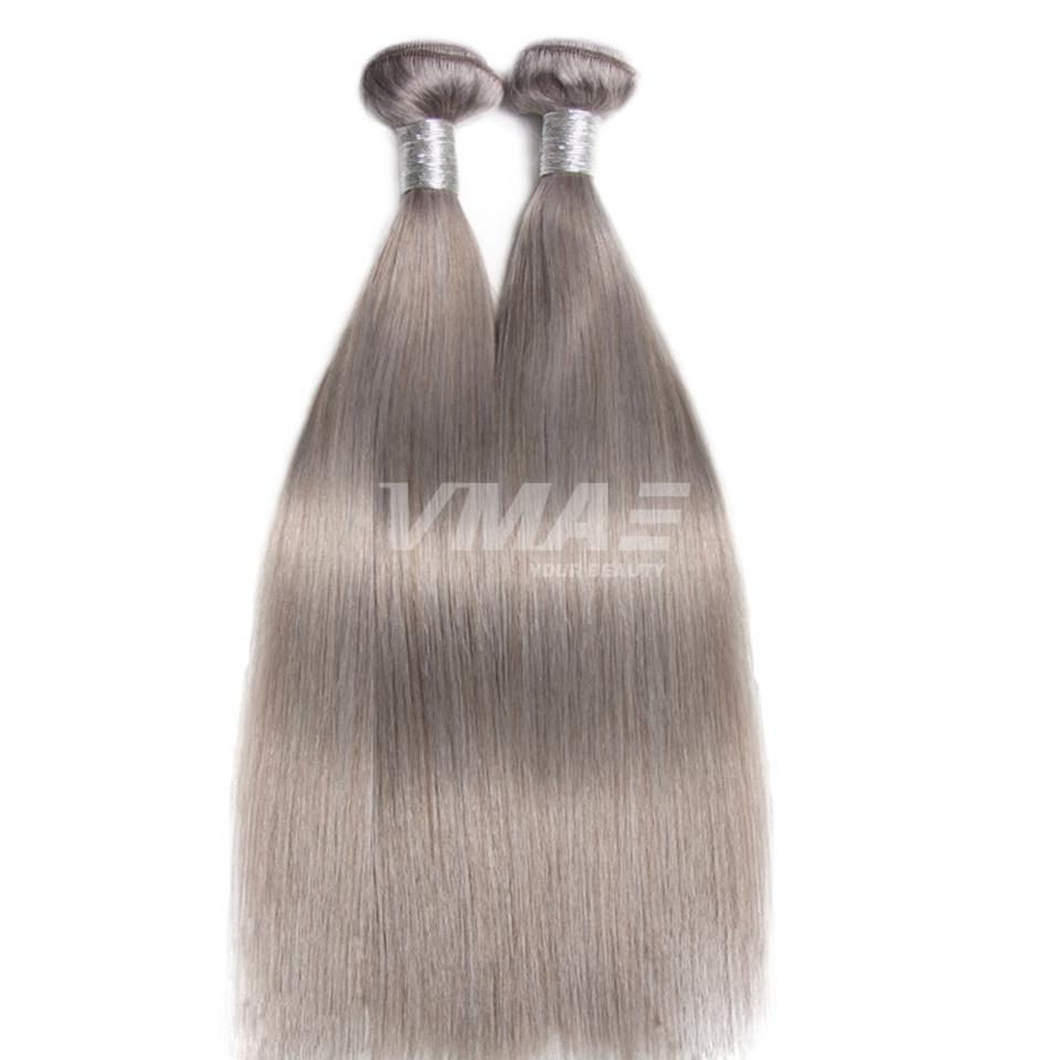 VMAE 인도 레미 처녀 인간의 머리 씨실 실버 그레이 컬러 3 번들 실키 스트레이트 헤어 익스텐션 100 % 처리되지 않은 되죠 자연 소프트