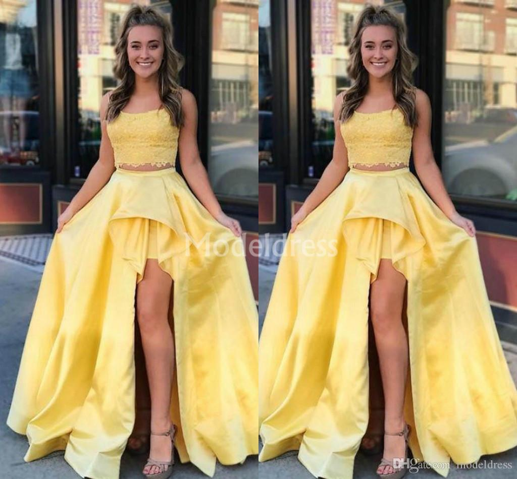 2019 Gorgeous Yellow Lace Prom Dresses Scoop Neck Two Pieces High Side Split Sweep Train Formal Party Evening Gowns Cheap Vestidos De Fiesta