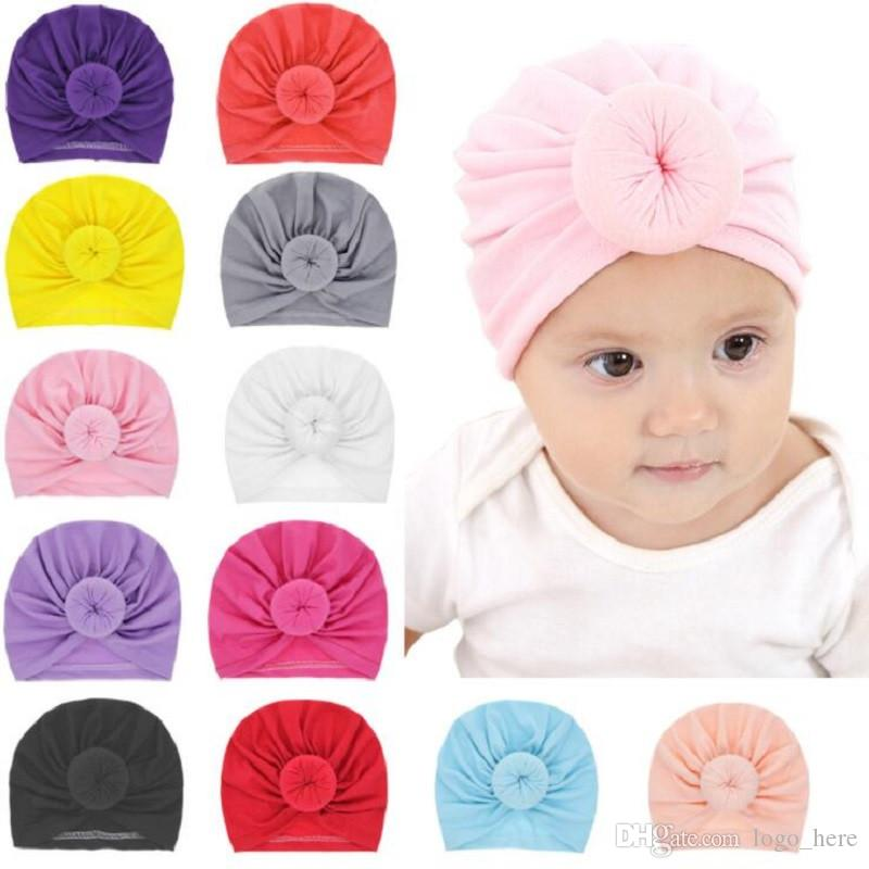 Cappello da bambino in feltro Cappello in cotone elasticizzato neonato Cappellino da bambino in turbante multicolore con fascia per capelli R0191