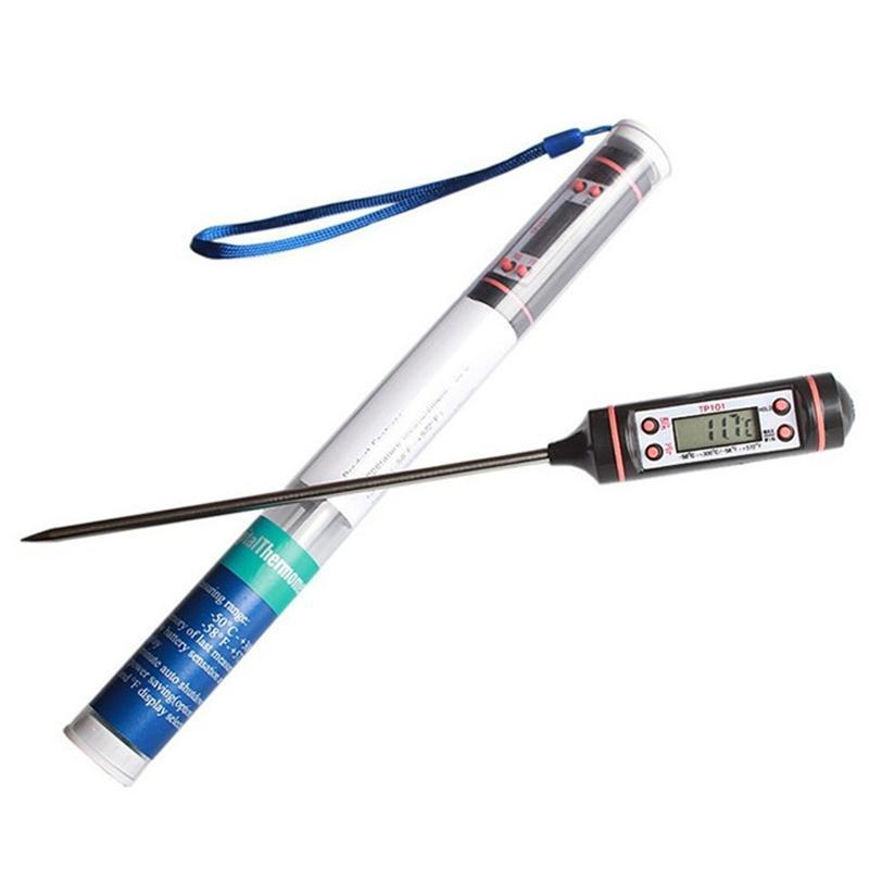 Kochen der Nahrung BBQ-Digital-Thermometer Edelstahl Haushalt Lebensmittel Fleisch-Thermometer-Probe mit 4 Tasten-Küche-Werkzeug VT0518