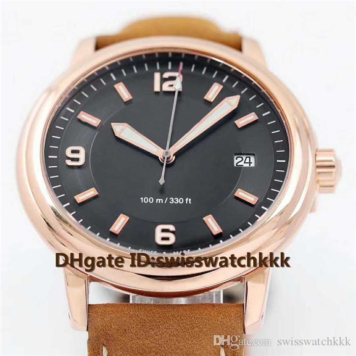 2019 Novo Relógio de pulso Swiss ETA2824 automática cristal de safira Data de exibição 18K Rose Caso bezerro pulseira transparente caso volta Mens Watch