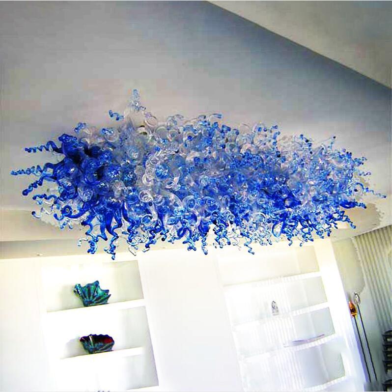램프 블루 천장 조명 100 % 입 날아가 유리 아트 샹들리에 실내 조명 현대 가정 장식 램프