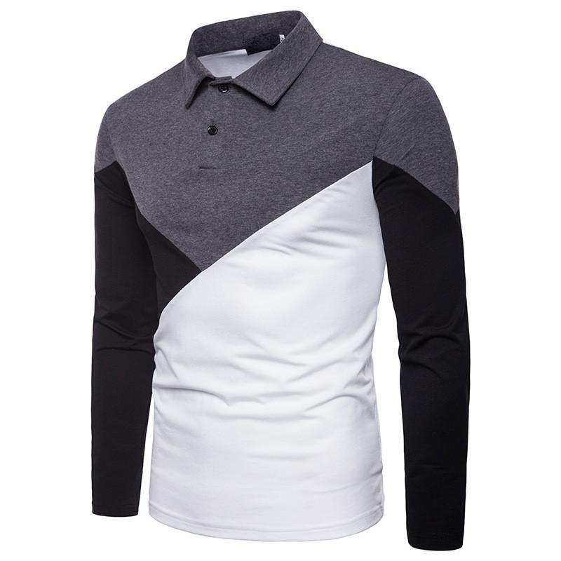 Del diseñador del Mens Polos Polos remiendo de la manera del color casual de manga larga solapa de cuello Polos Ropa Hombres