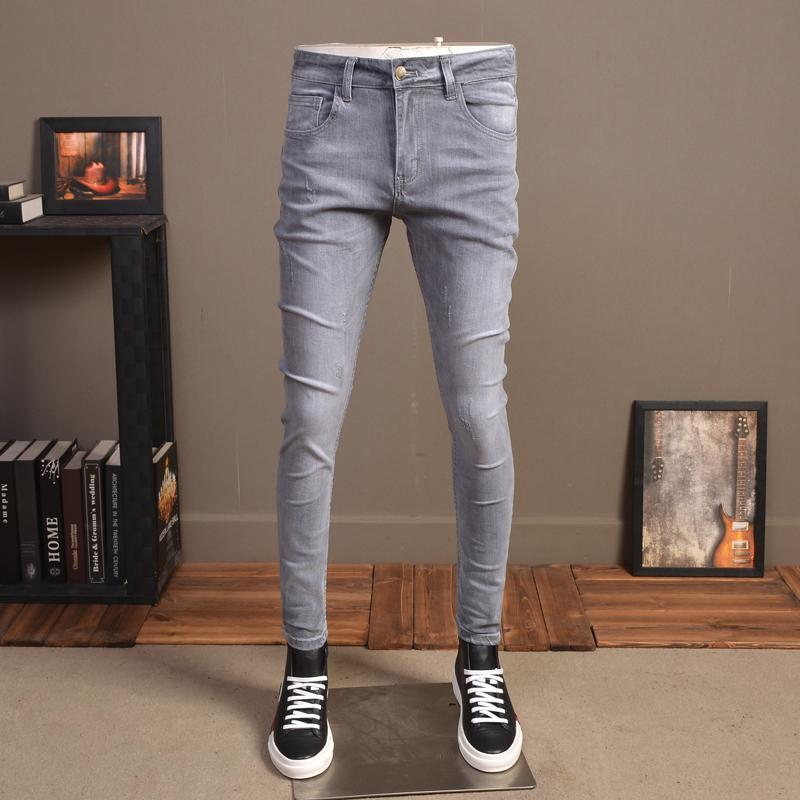 Fashion Men Grau Jeans Sommer Street Stretch Slim Fit Jean Pants