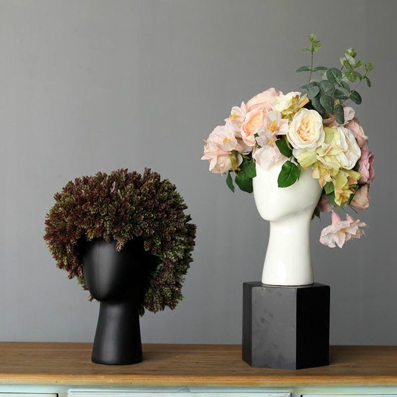 Vasi creativi Bianco Bianco Vaso in ceramica Scandinava Design Design Home Decorazione di nozze Testa di porcellana Forma