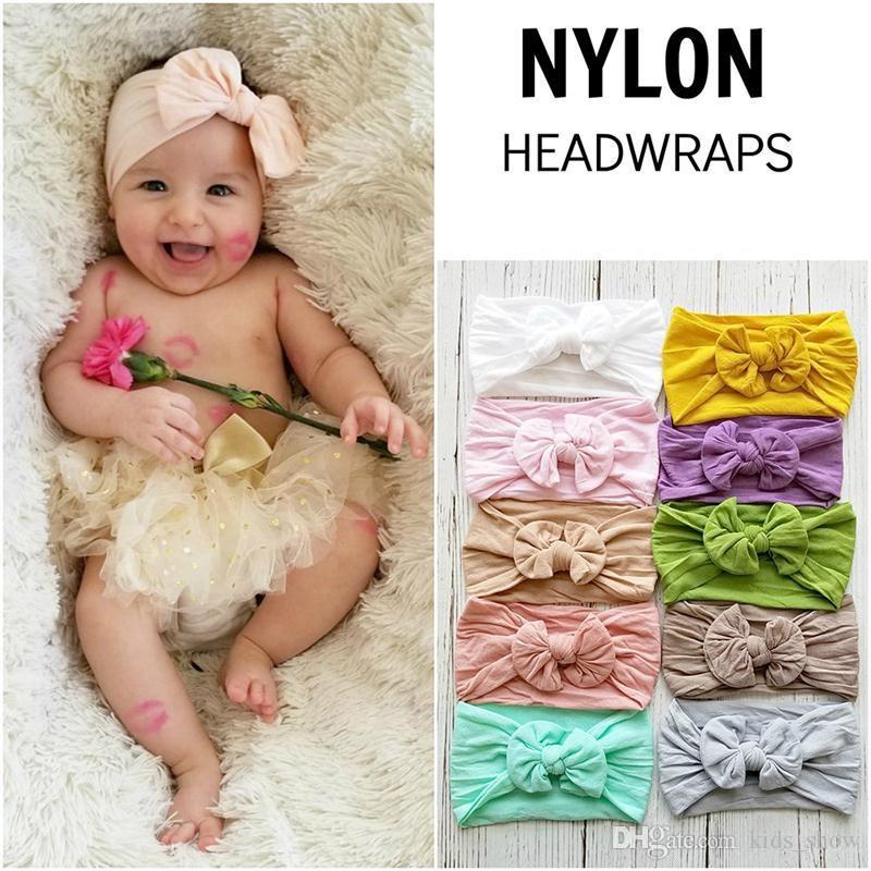 baby nylon bowknot headband Bohemia style hair band super soft elastic infant bow wide headwrap toddler girls hair accessory