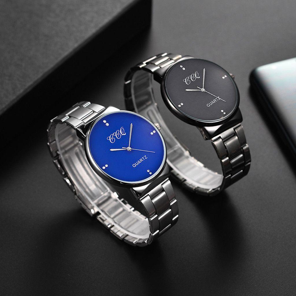 CCQ Men relógio de pulso de quartzo banda de aço inoxidável Ponto de negócios analógicos homem relógios homens assistir relógio macho metal