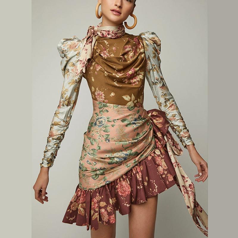 2020 عالية الجودة مدرج مصمم الزهور طباعة التعادل الذاتي صد رايات خمر المرأة فساتين البسيطة اللباس التعادل الرباط قصيرة حزب اللباس Vestidos