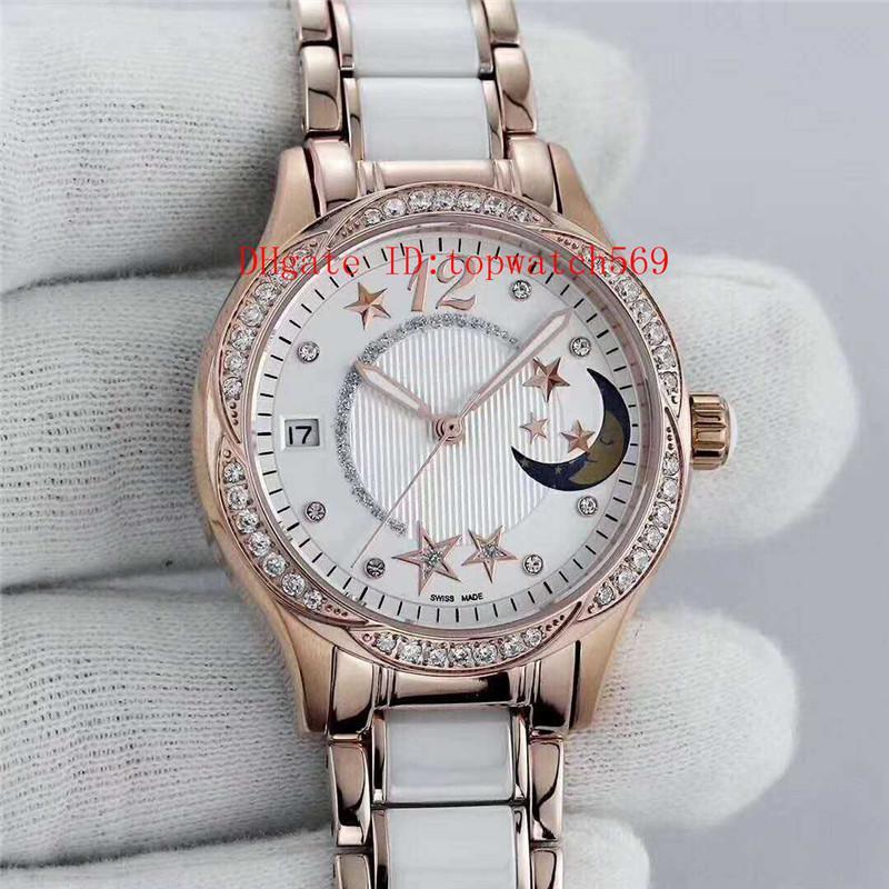 Top Rose Gold Рандеву Lady Watch Алмазный женские часы Swiss Automatic Mechanical Дата фазы Луны сапфировое Алмазный диск