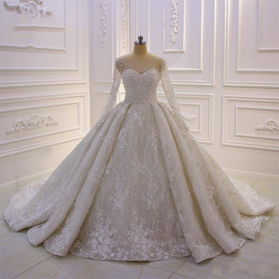 2020 럭셔리 볼 가운 웨딩 드레스 보석 목 페르시 Appliqued 긴 소매 레이스 신부 드레스 빈티지 플러스 사이즈 가운 데 야회
