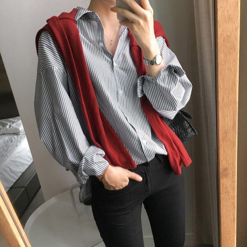 Dames de bureau rayées femmes chemisiers col en V manches longues femmes chemisiers et hauts lâches femmes chemises Blusas Mujer De Moda 2019 SH190722