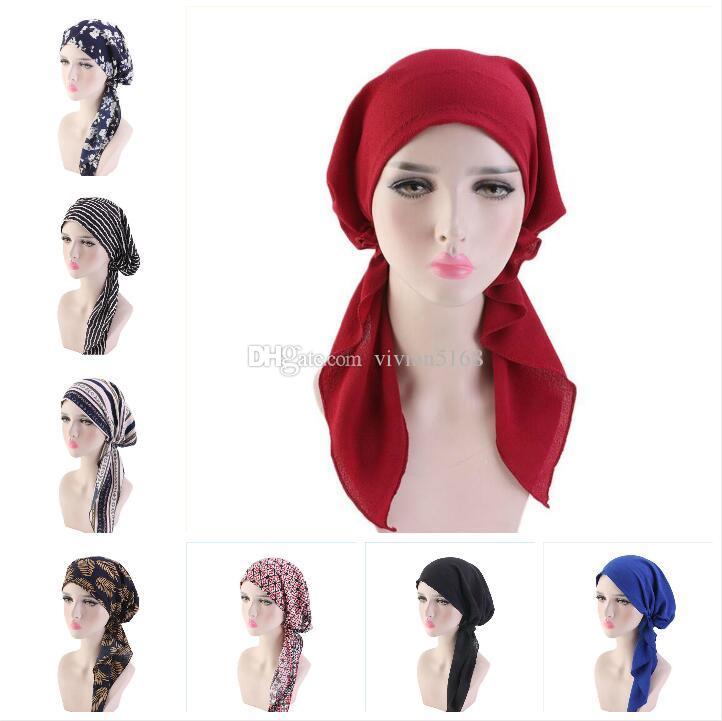 Muslim Women Printed Hijabs Hats Wigs Turban Head Head Scarf Chemo Cancer Cap Hair Loss Hat Long Tail Bow Bonnet Wide Band Wrap Cap
