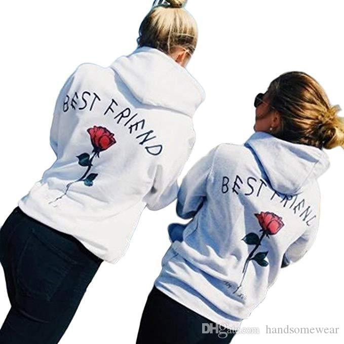 Womens Hoodie Back Rose Letter Printed Long Sleeve Sweatshirt for Winter Warm Fleece Hoodies in 3 Colors Casual Pullover