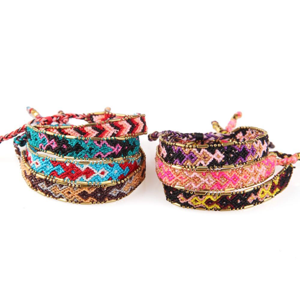 Браслет Дружбы KELITCH сплетенной цветастого Wide Чехи Wrap браслеты для женщин девушек ювелирных изделий ручной работы