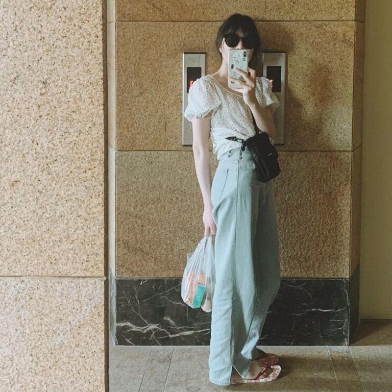 Primavera / estate 2020 la nuova versione coreana di ins vento puro cotone lavato casuali degli alti della vita dei jeans delle donne diritte L01 all'ingrosso