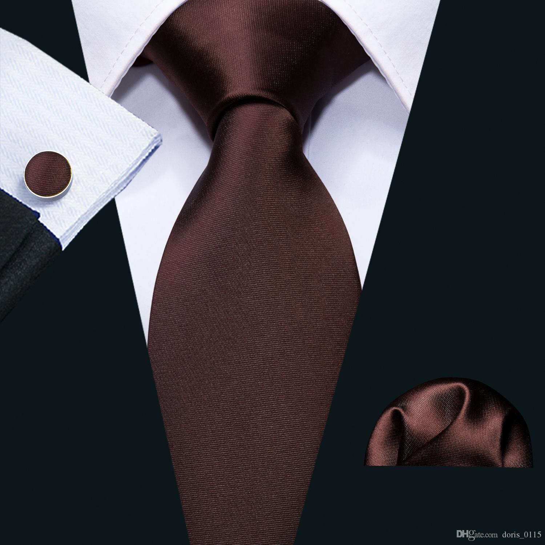 Hi Tie Solid Tie Hanky Cufflinks Set 100% High Quality Silk Brown Jacquard Necktie Business Men Gifts Tie N-5110