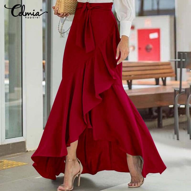 gros Mode d'été Maxi jupe taille haute ceinturée femmes Casual lâche Parti Fishtail Jupes Volants Jupes longues Plus Size 5XL