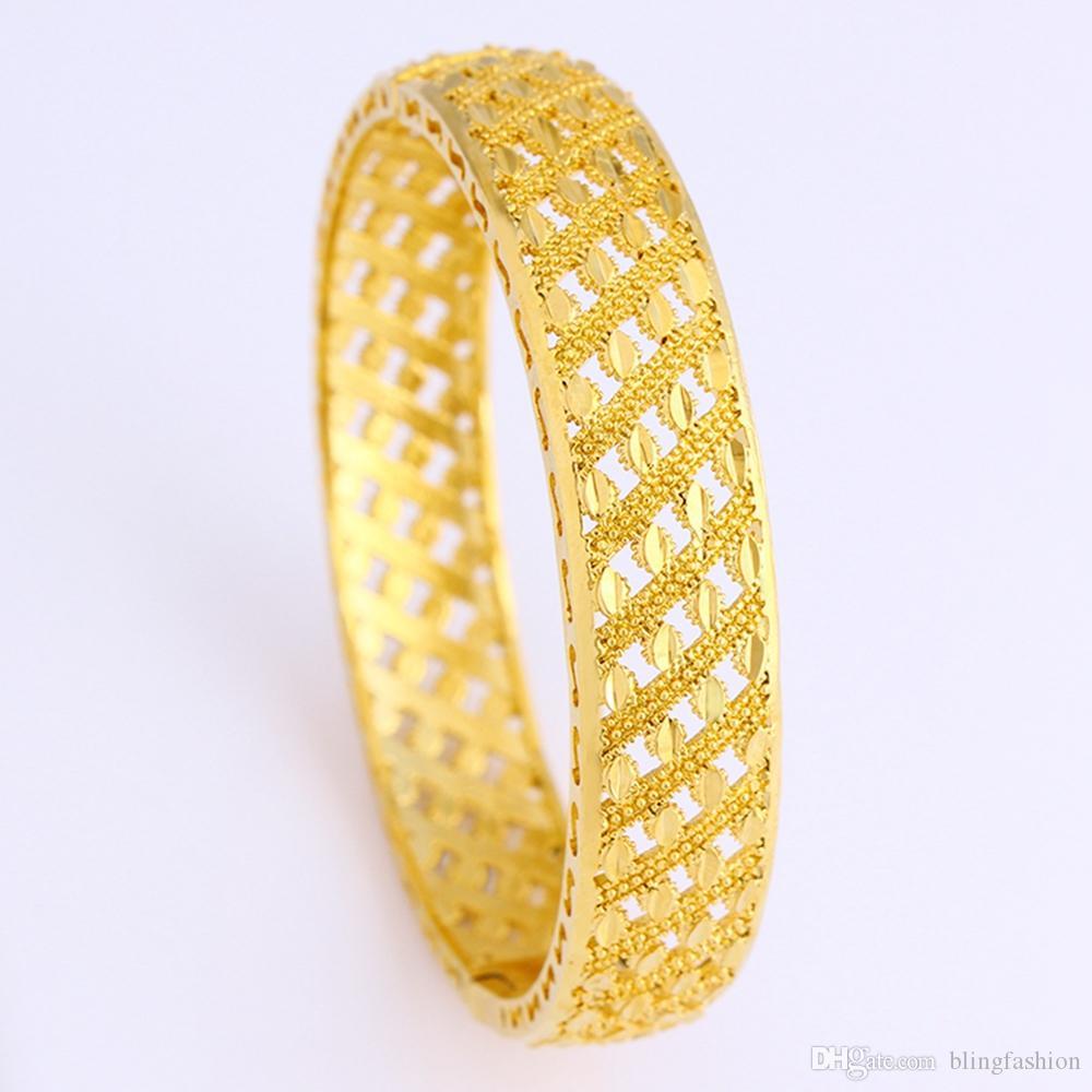 Bella Donna Bangle Mesh Hollow oro giallo 18k riempito di lusso 62 millimetri di modo del regalo Dia Bracciale