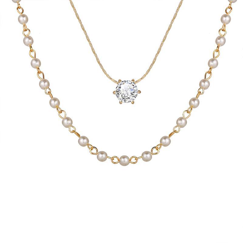 Gioielli MISANANRYNE coreana imitazione Girocollo Collana perla strass per Double modo delle donne collana di strato Catena