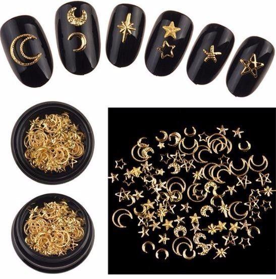 1 Box Mixed 3d Star Moon Metal Stud In Black Jar Art Decorations Wholesale Fashion Japan Style Jewelry Accessory