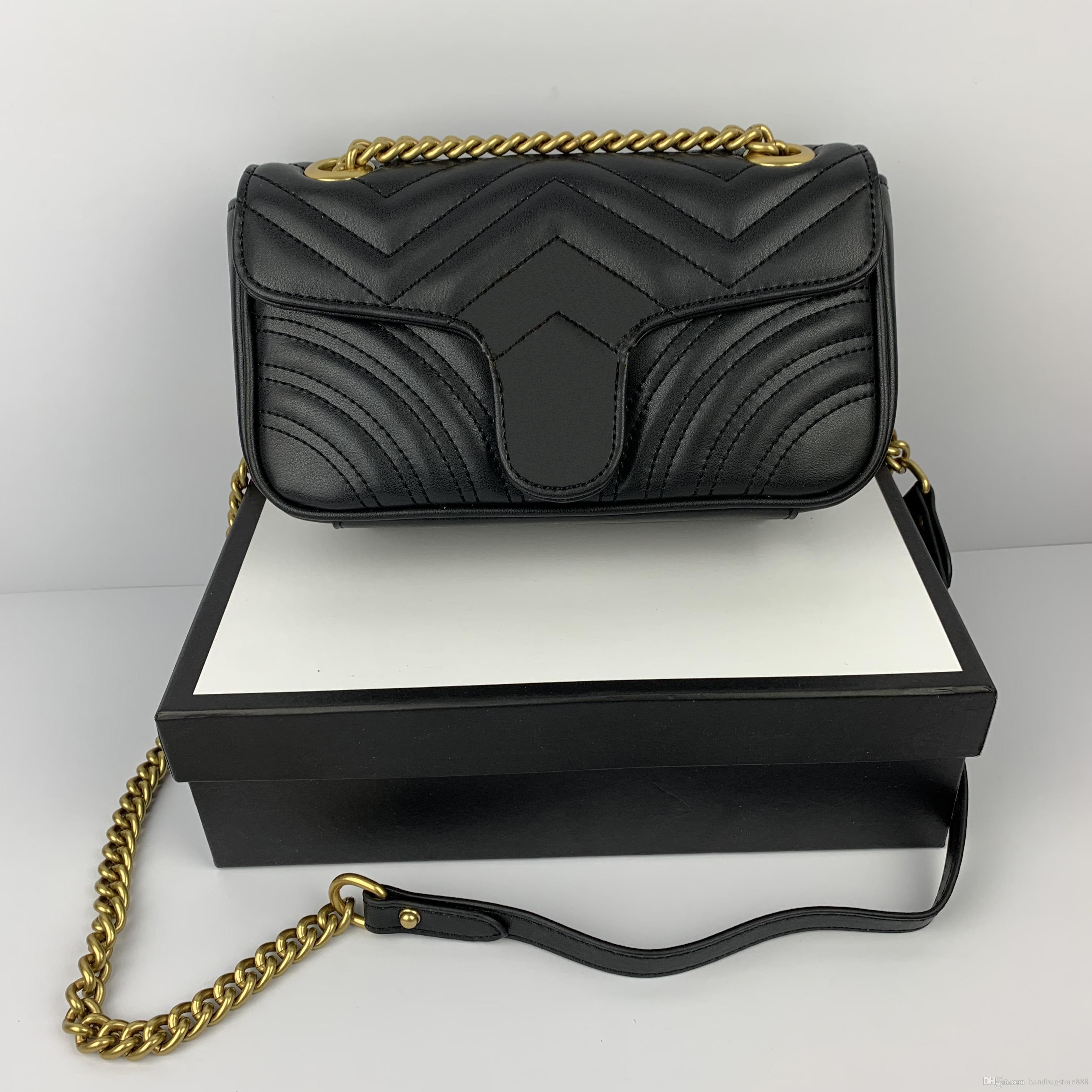 حار بيع مصمم أزياء السيدات الشهيرة سلسلة صغيرة حقائب الكتف رسول حقيبة المرأة 22cm وCROSSBODY مع giftbag