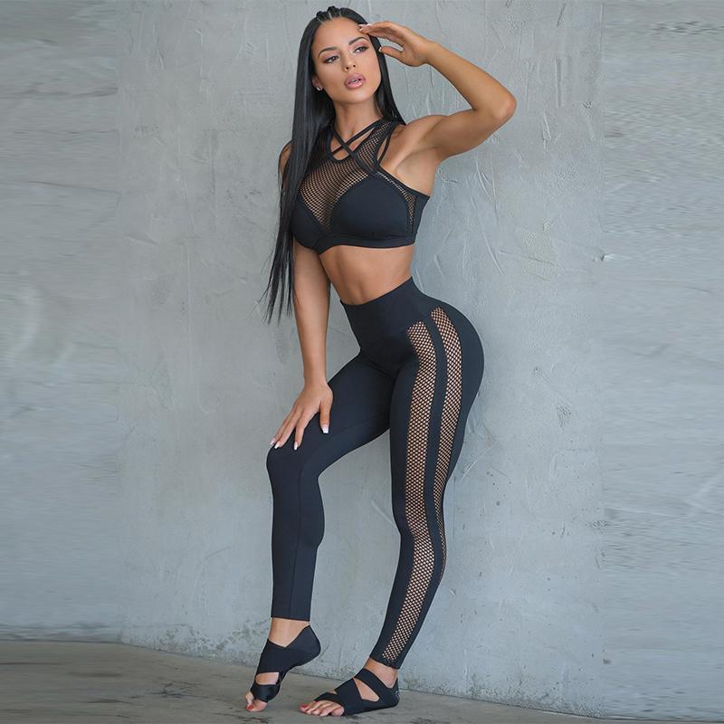 2 шт Йоги Набор для женщин Фитнес-центр Одежды спортивных Mesh Workout Спорт Tracksuit Йоги Бега Gym костюмы Push Up Sport Set