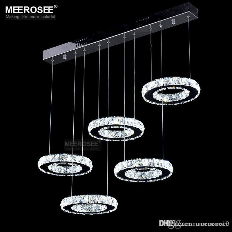 İyi Kalite Krom Kristal Avize LED Elmas Yüzük Lambası Çember Paslanmaz Çelik Işık Fikstür Aydınlatma LED Lustres Asma