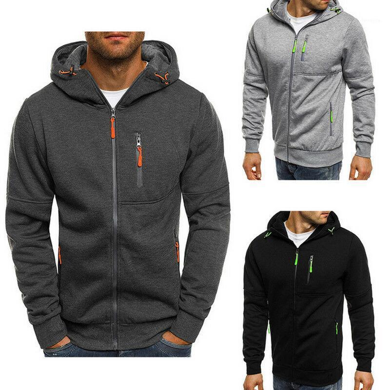Mode Vêtements d'hiver d'homme Pulls d'automne Plaine Slim Fit Zip Up Sweat à capuche Outwear Casual Gym Manteau chaud jacket1