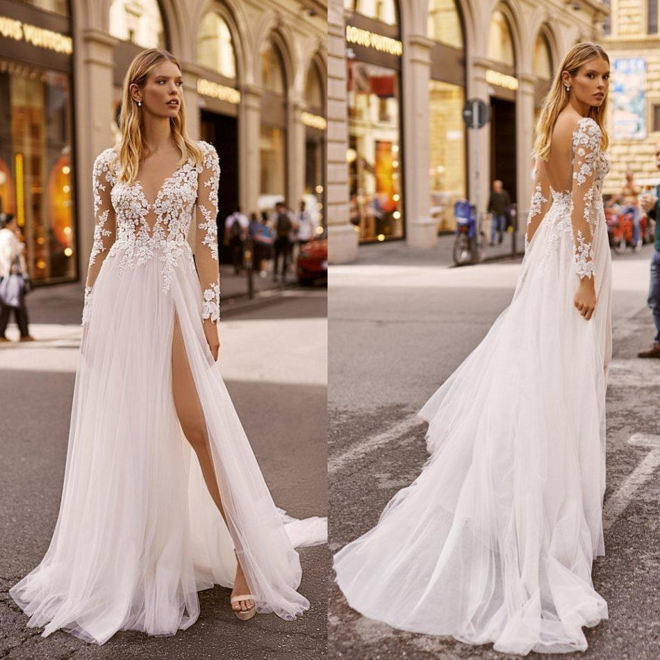 2020 Berta Wedding Dresses V Neck Appliqued Long Sleeves Lumbar Lace Bridal Gown Backless High Split Ruffle Sweep Train Robes De Mariée