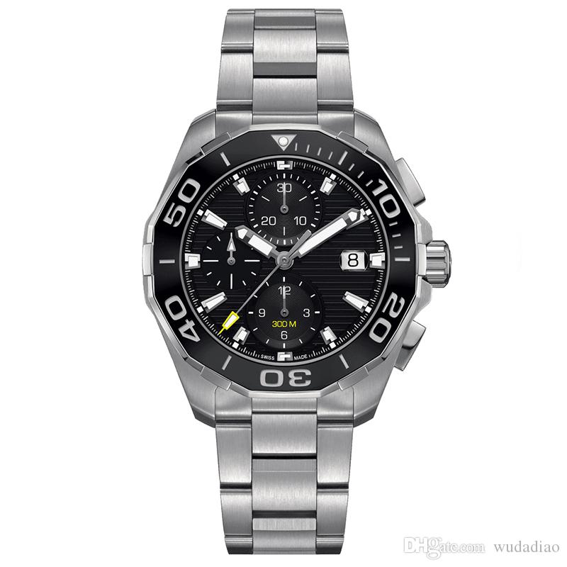 luxury watch mens chronograph quartz watches classic style full stainless steel strap 5 ATM waterproof super luminous Japan VK movement