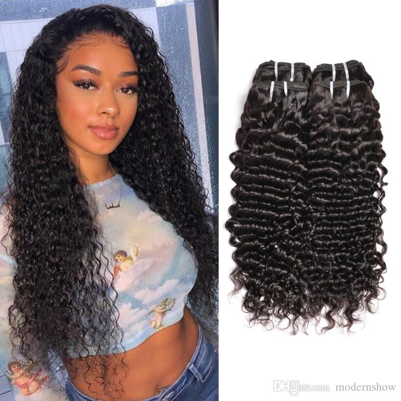 8A grade brésilien profonde vague frisée cheveux humains tisse de 10-30 pouces 3-4 groupements de cheveux profonds des cheveux