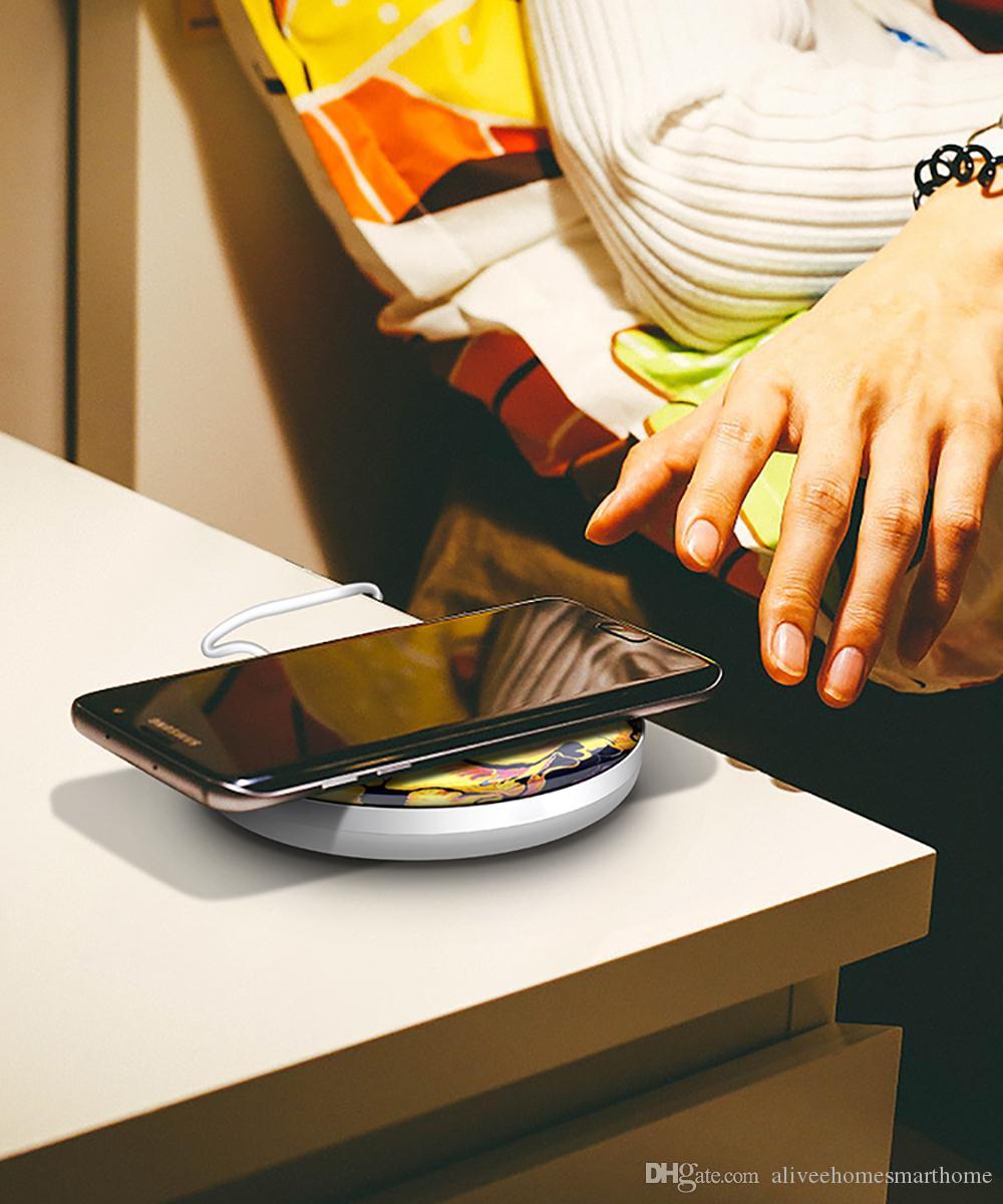 아이폰에 대한 CE 인증 밤 빛 10w 빠른 무선 충전 패드 USB 무선 충전기 (8) 삼성 S10 (S9) 무선 전화 충전기
