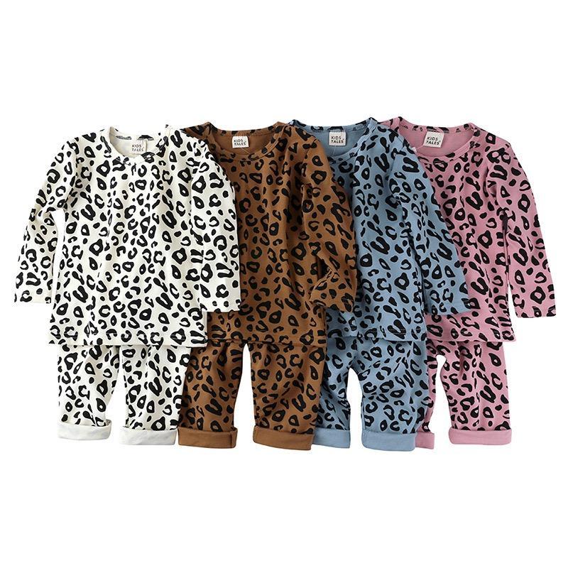 KT Kids Tales Minal Baby Boys Girls Leopard Одежда наборы одежды Костюмы с длинным рукавом Свинные колеры Упругие хлопковые брюки 2 Штабели Дети