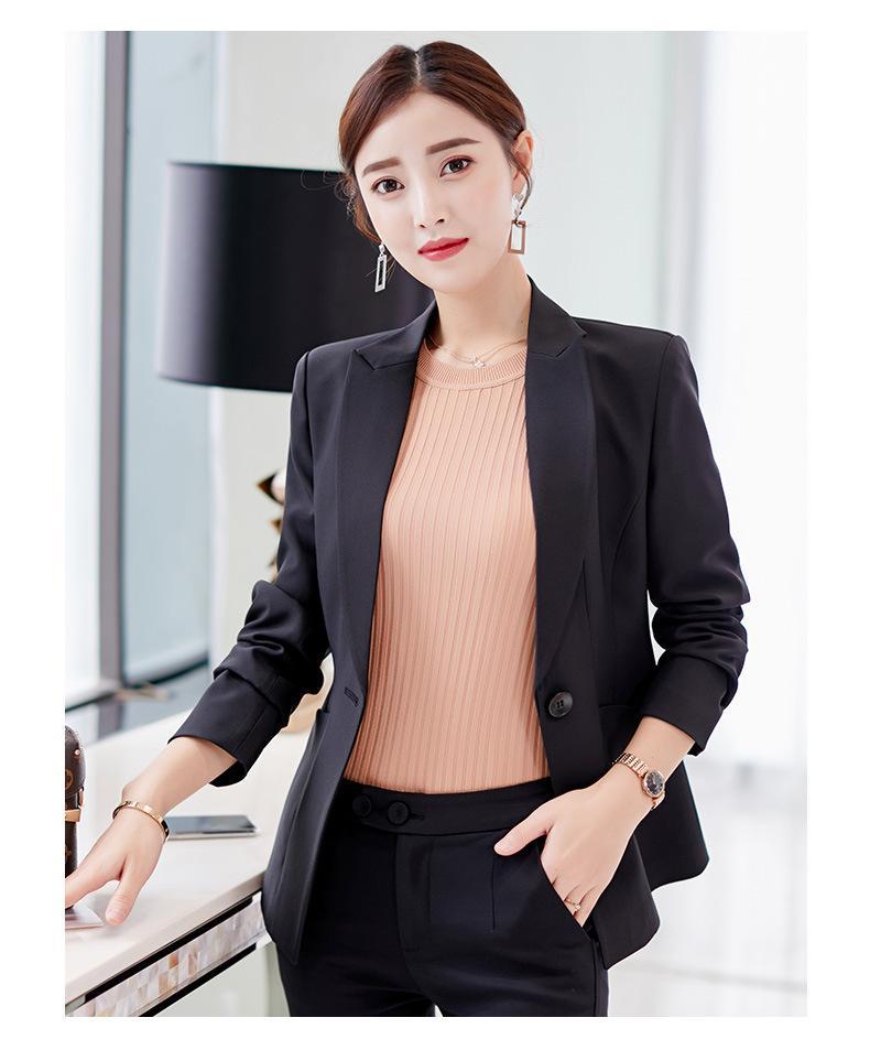 Lanzamiento de foto del otoño y del invierno 2018 nuevo estilo de estilo coreano elegante de la manera que adelgaza Traje Casual Versátil Traje vestido de las mujeres