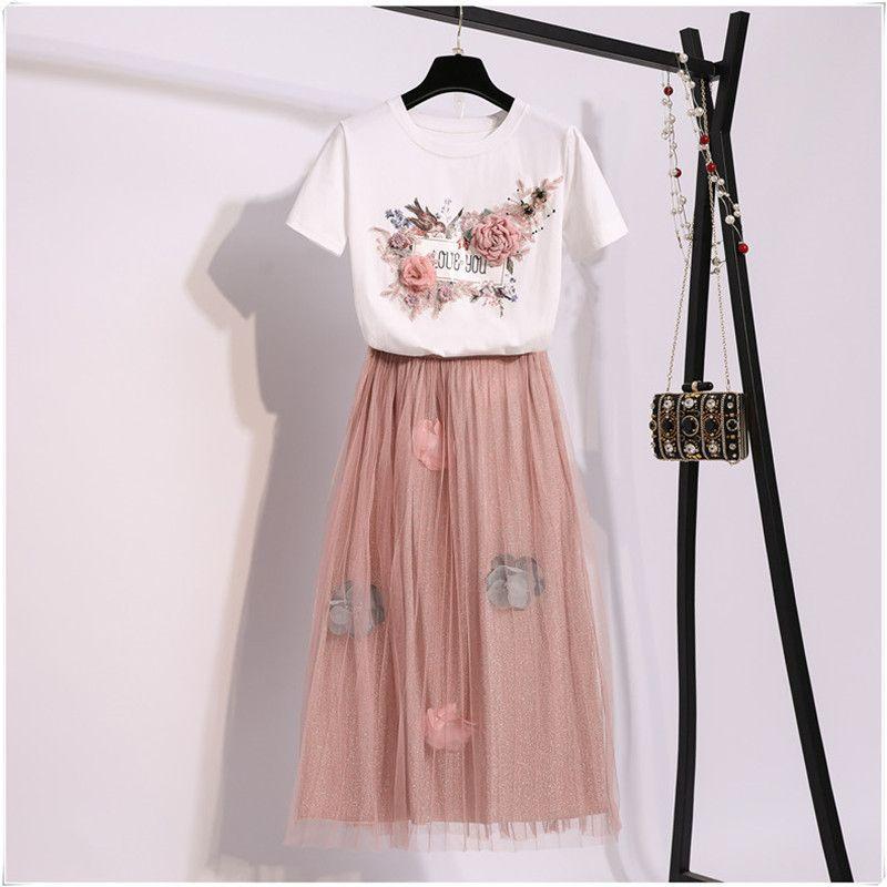 2019 Summer Women Set Flower Print Embroidery Short-sleeved Cotton T-shirt + Floral Appliques Mesh Skirt Two-piece Sets T5190610
