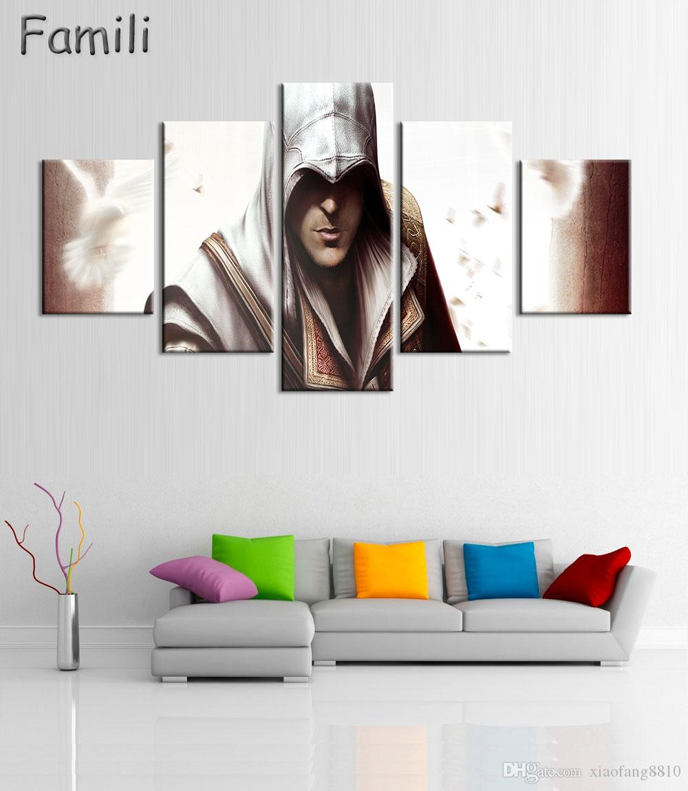 5Panels HD Printed Game Poster Wall Picture Assassins Creed Game Painting for Living Room Kid Room,quadros de parede para