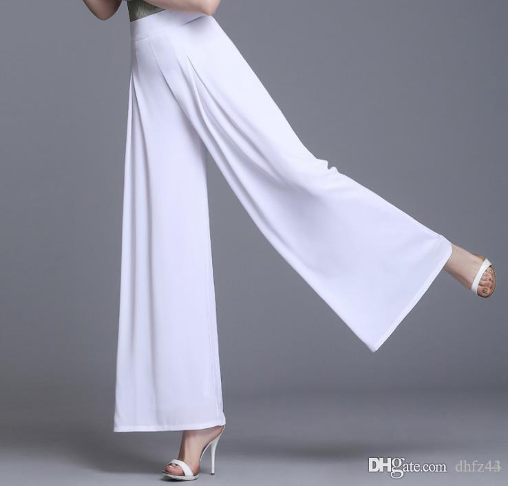 Bayanlar Moda Pantolon Düz Tam Boy Geniş Bacak Yüksek Bel şifon Pantolon Yaz İnce Pantolon Gevşek Artı boyutu Womens