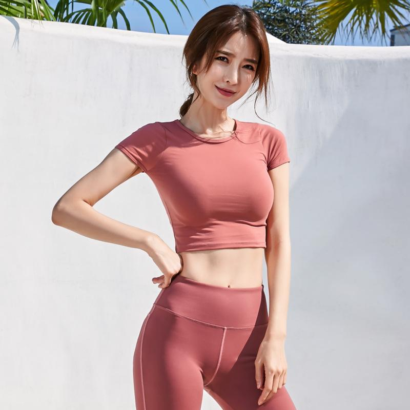 2020 Yoga-Kleidung Fitness Top-Speed ​​Dry Kleidung Outdoor Sports Short Sleeve Lauf Slim Fit Yoga Top