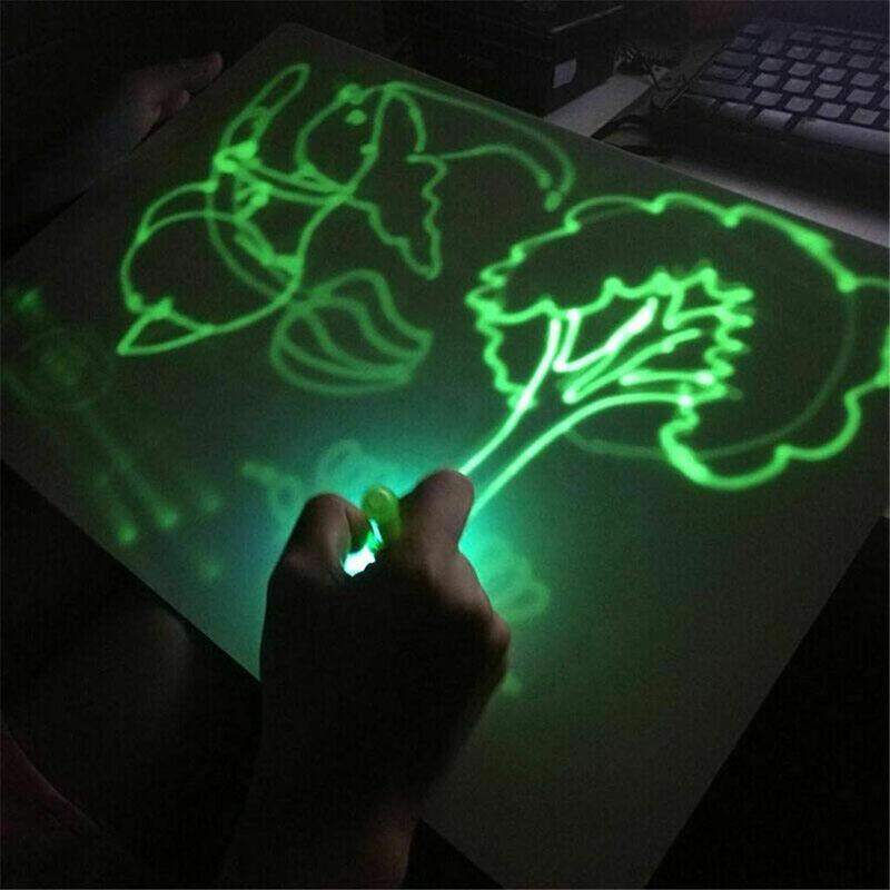 Fábrica Educacional Drawing Toy Board Tablet Graffiti Doodle 1pc A5 A4 A3 Led luminoso Magia Desenhar com luz-fun fluorescente Pen