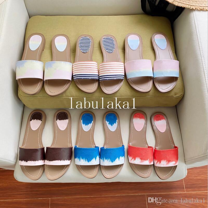 Moda feminina 2020Sandals sandálias mulheres com caixa de flores impressas Tie-dye aleta praia unisex-flops slipper grande tamanho 41