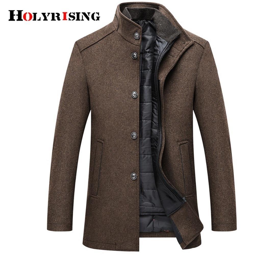 Holyrising шерстяного пальто Мужчина Толстых Overcoats Topcoat мужской однобортный пальто и куртка с регулируемым Vest 4 Colors M-3XL CJ191213