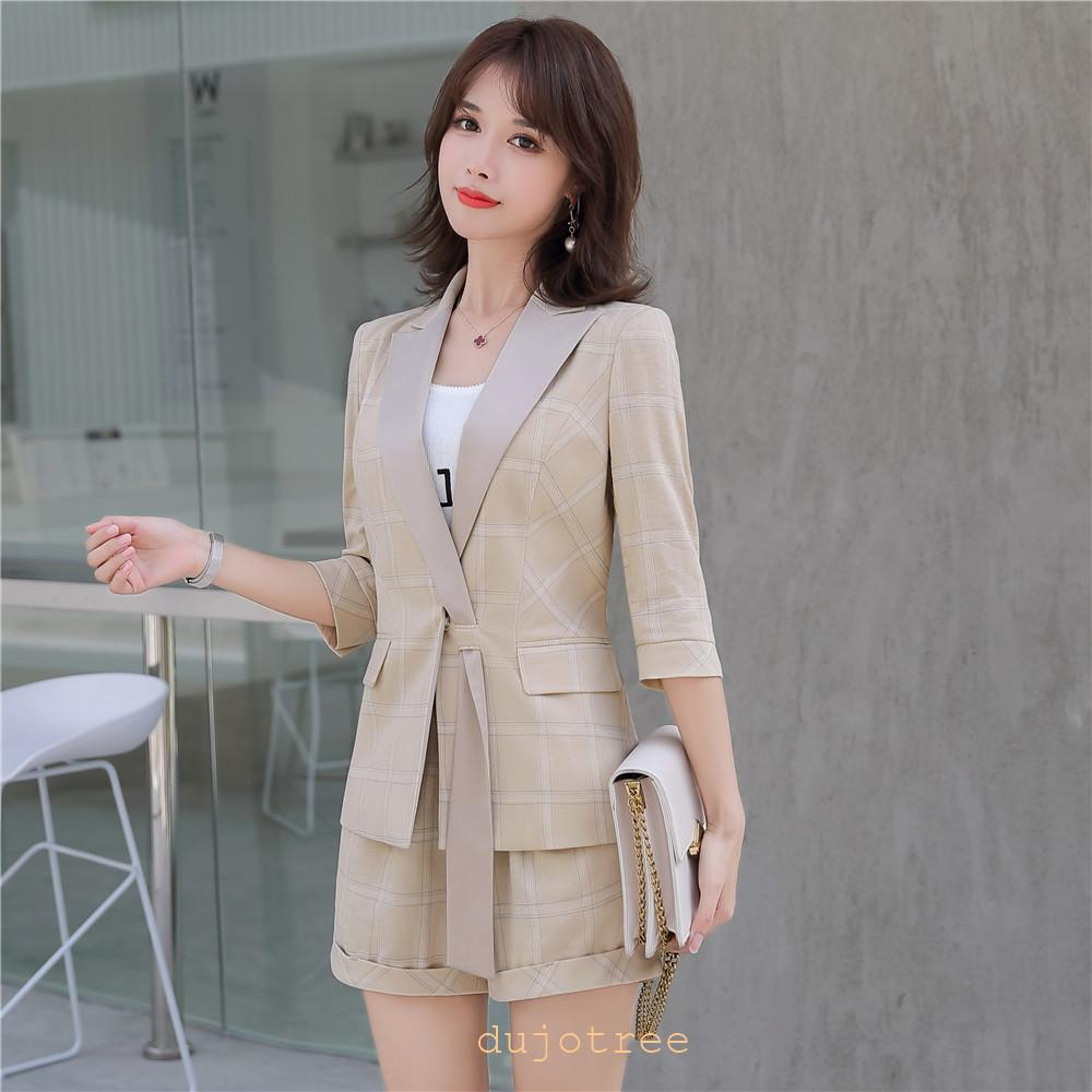 BS973 curto Mulheres Ternos coreano escritório Senhora do negócio da manta 2 Pants Pedaço Define meia manga Jacket Blazer + cintura alta Hot Curto Pant Set