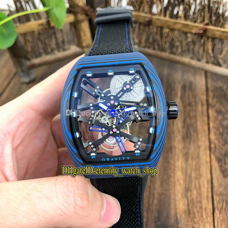 MEN'S COLLECTION Vanguard V 45 T GR CS SQT BR (NR) Blue Skeleton Dial Miyota Automatic Mens Watch Blue Luminous fiber Case Watches