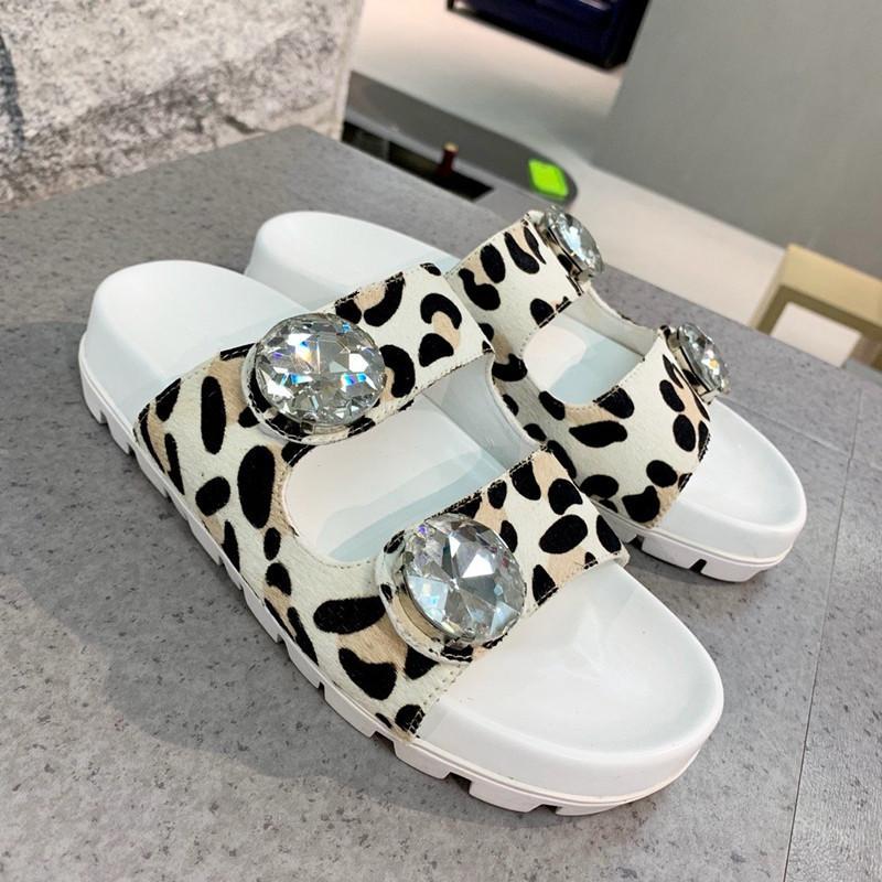 kutu ile 2020 Lüks Tasarımcı Kadınlar Kristal Sandalet Slaytlar hakiki deri Slaytlar lüks terlik boyutu 35-40