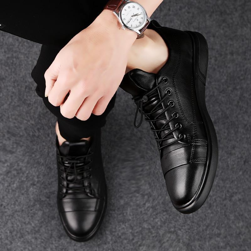 Scarpe Uomo Nuovo High Top Lace Up Shoes Casual Moda Autunno Vera Pelle Scarpe di scarpe da uomo uomini delle scarpe da tennis a mano * X1968