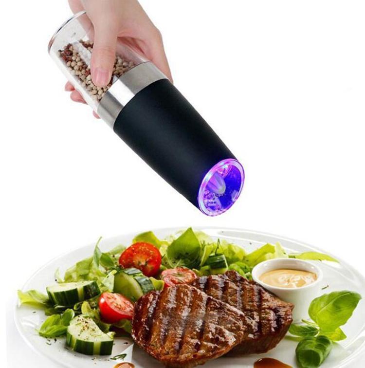 Elétrico automático moedor de pimenta LED Light Sal Pimenta Grinding Garrafa gratuito Cozinha Tempero Moer ferramenta automática Mills YSY100